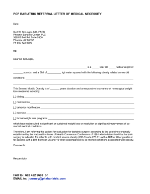 Letter of Medical Necessity (PCP Bariatric Referral Letter) Template