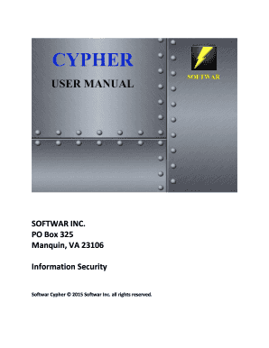 PO Box 325 Manquin, VA 23106 Information Security Softwar Cypher 2015 Softwar Inc - softwar