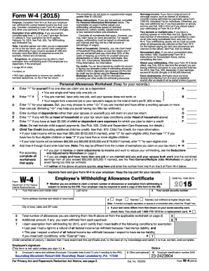 Form W-4 (2015) - Roundtop Mountain Resort
