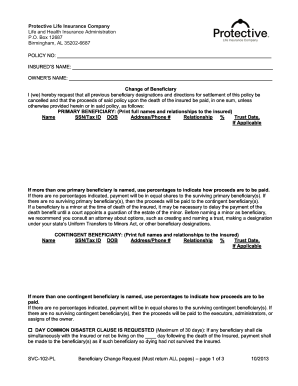 Editable Protective Life Insurance Beneficiary Change Form