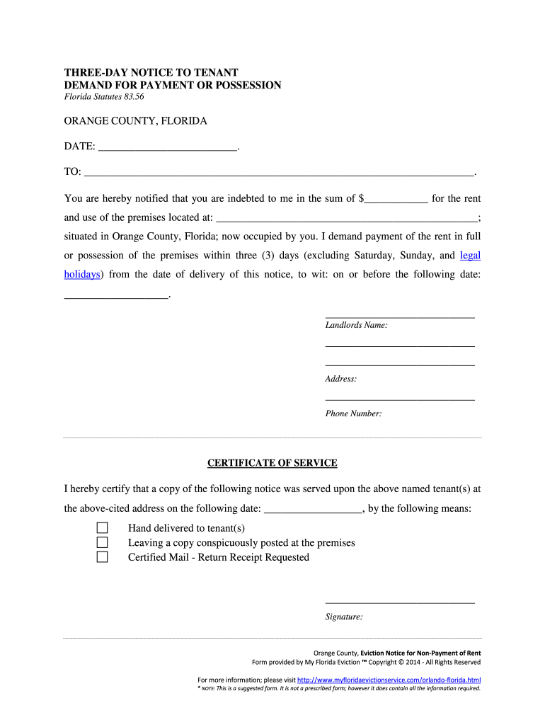Fillable Online Orange County Eviction Notice for Non