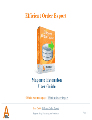 Fillable Online Magento Order Export by Amasty User Guide