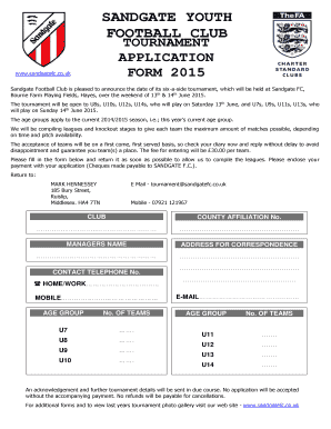 Football tournament application form edit fill out online sandgate youth football club tournament application form 2015 altavistaventures Choice Image