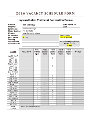 fillable online 2016 vacancy schedule form hayward lakes visitors