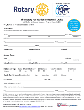Fillable Online The Rotary Foundation Centennial Cruise Fax