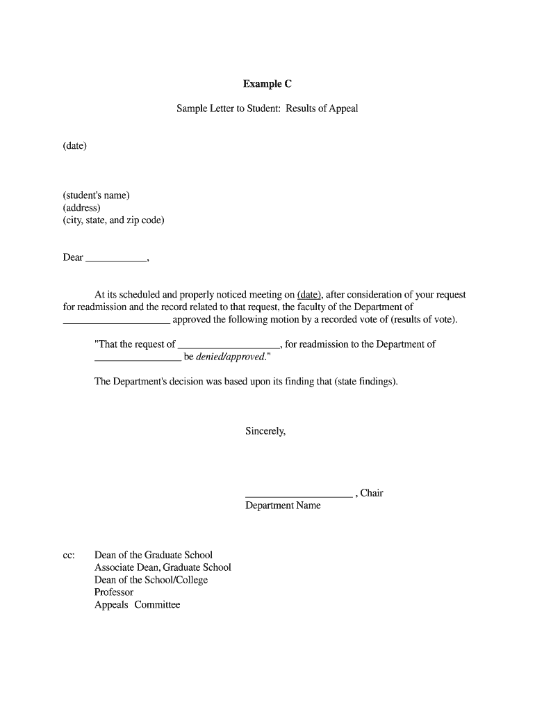 Example C Sample Letter to Student: Results of Appeal (date