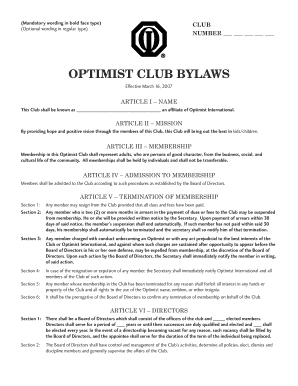fillable online optimist club bylaws indrihovic fax email print