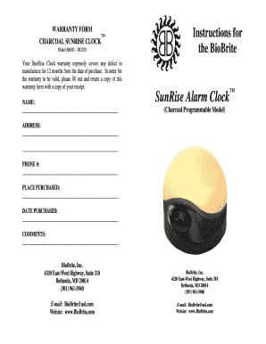 Fillable Online Sunrise Alarm Clock Biobrite Fax Email Print Pdffiller