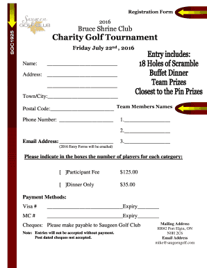 Fillable Online Bruce Shrine Club Charity Golf Tournament Fax Email