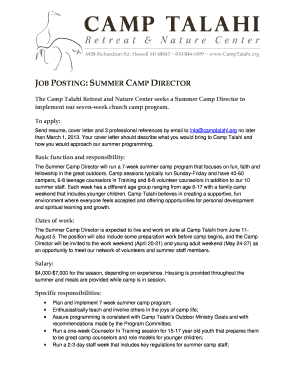 Fillable Camp Director Cover Letter