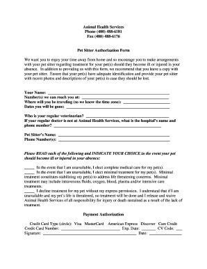 printable pet sitter forms edit fill out download samples in