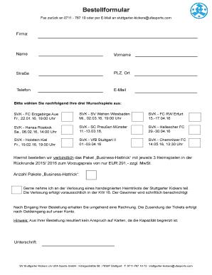 Bestellformular - Stuttgarter Kickers Fill Online, Printable ...