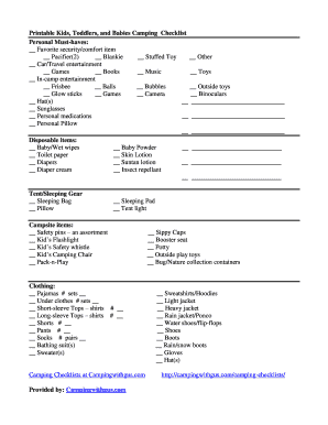 Printable Kids Toddlers And Babies Camping Checklist