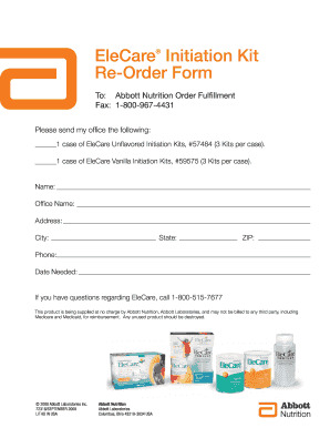 Fillable Online abbott vo llnwd EleCare Initiation Kit Re