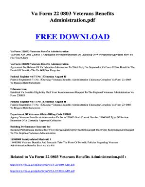 Fillable Online kutukupret 96 VA FORM 22 0803 VETERANS BENEFITS ...