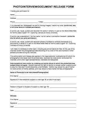 Interview Release Form   Sleepyside.org