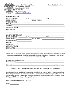 Azalea Lakes Veterinary Clinic Drop Off Questionaire Form