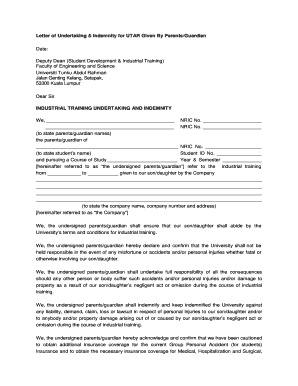 Editable undertaking letter format for parents fill print letter of undertaking and indemnity to utar by parentsc thecheapjerseys Choice Image