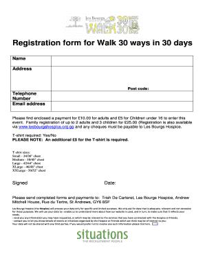 Registration Form For Walk 30 Ways In Days