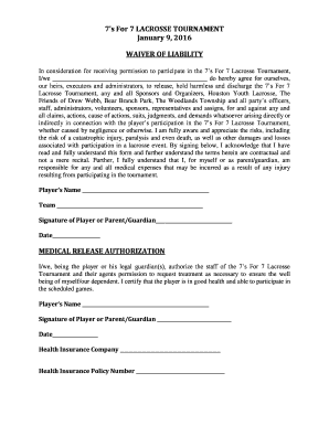 2016 7's for 7 Tournament Participant Waiver - Lamar Women's ... - lamarwlax