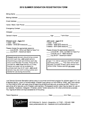 2015 SUMMER SENSATION REGISTRATION FORM - justdancestudio