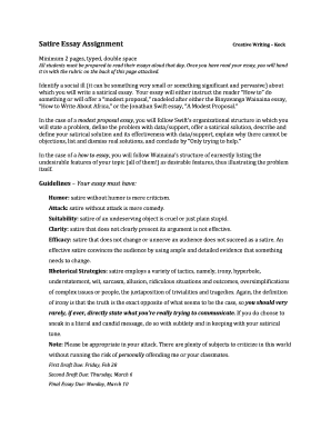 Fillable Online Creative Writing Satire Assignment 2014 Ms Keck