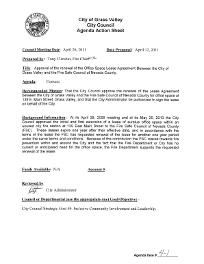 City of Grass Valley City Council Agenda Action Sheet Council Meeting Date: April 26, 2011 Date Prepared: April 12, 2011 Prepared by: Tony Clarabut, Fire Chief Title: Approval of the renewal of the Office Space Lease Agreement Between the