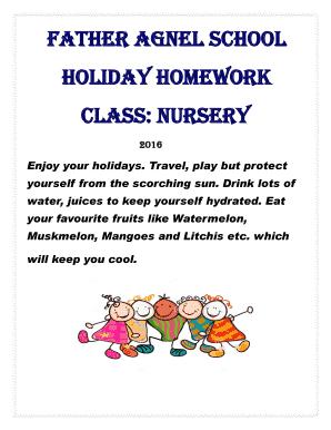 holiday homework father agnel school