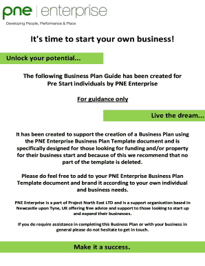 Pre Start Business Plan Template - pne-enterprise
