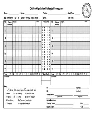 Fillable Online Odoa Cvvoa High Volleyball Scoresheet