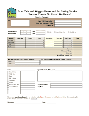 printable pet sitting forms daily visit notes edit fill out