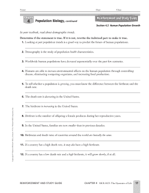 fillable online section 4 2 human population growth glencoe fax rh pdffiller com population biology reinforcement and study guide Biology Study Guide Chapter 9