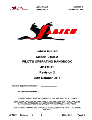 Fillable Online jabiru net Pilots Operating Handbook
