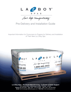 Fillable online pre delivery and installation guide la z boy spas fill online publicscrutiny Choice Image