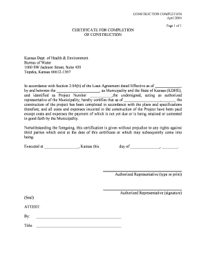 Editable construction project completion certificate format - Fill