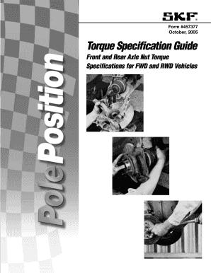 fillable online form 457377 october 2005 torque specification rh pdffiller com skf torque specification guide 2018 skf torque specification guide 457377