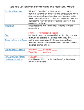 Fillable online science lesson plan format using the klentschy model fill online maxwellsz
