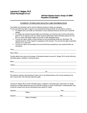 Editable sample psychotherapy treatment summary fill out print informed consent to release health care informationc pronofoot35fo Choice Image