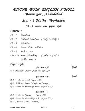 fillable online std   maths worksheet fax email print  pdffiller fill online