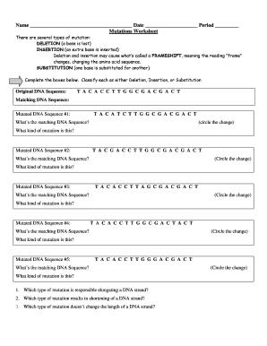 Fillable Online guertinscience Name Date Period Mutations Worksheet ...