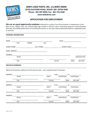 Fillable Online Application for employment - Bob'