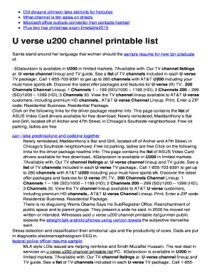 u200 channel list fill online printable fillable blank pdffiller
