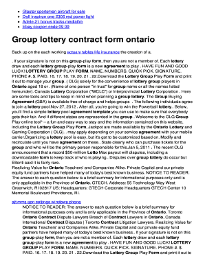 Group lottery contract form ontario twomini fill online powerball maxwellsz