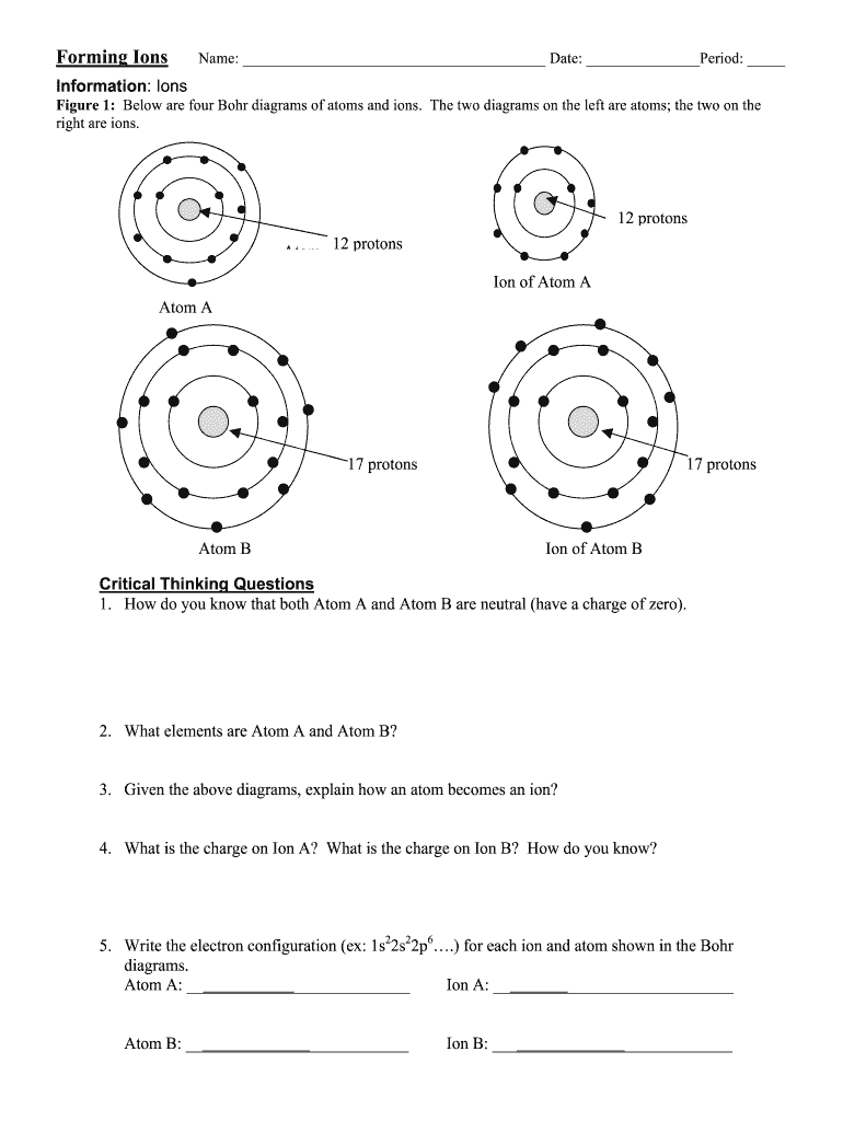 Forming Ions Worksheet - Fill Online, Printable, Fillable ...