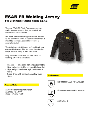 Fillable Online ESAB FR Welding Jersey Fax Email Print