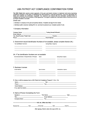 Fillable Online USA PATRIOT ACT COMPLIANCE CONFIRMATION FORM Fax ...