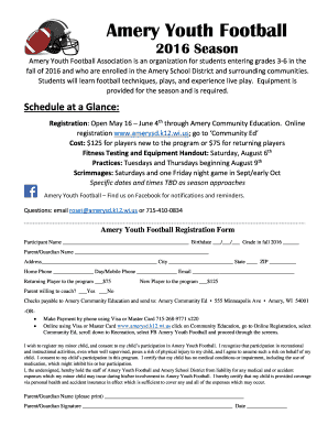 Fillable Online Amery Youth Football - amerysd.k12.wi.us Fax Email ...