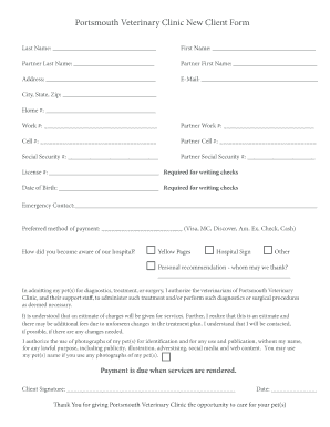 New client form veterinary fillable printable resume for Veterinary forms templates