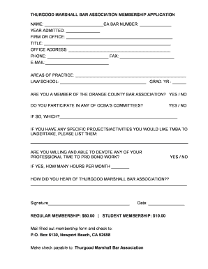 picture regarding Marshalls Application Printable called Down load printable subscription style (PDF). - Thurgood
