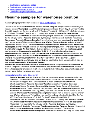 Fillable Online Resume Samples For Warehouse Position Twomini